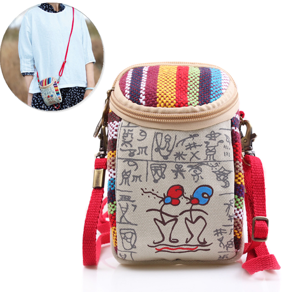Women Canvas Vintage 5.5 Inches Phone Bag Multifunctional Clutch Crossbody Bag