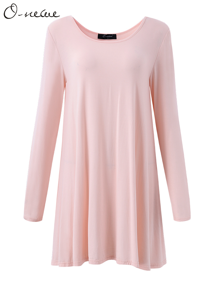 Sexy Women Brief Pure Color Long Sleeve Modal Cotton Dress T