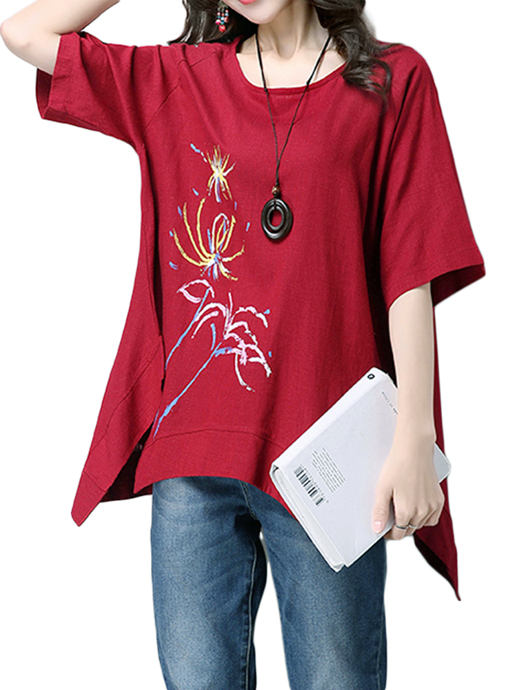 Casual Flower Print Irregular T-Shirt For Women