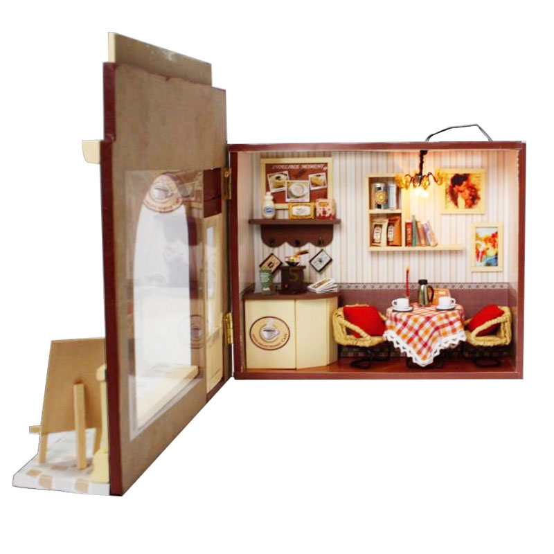 Hoomeda DIY Wood With Dense Feeling Moment LED+Furniture+Cover Dollhouse
