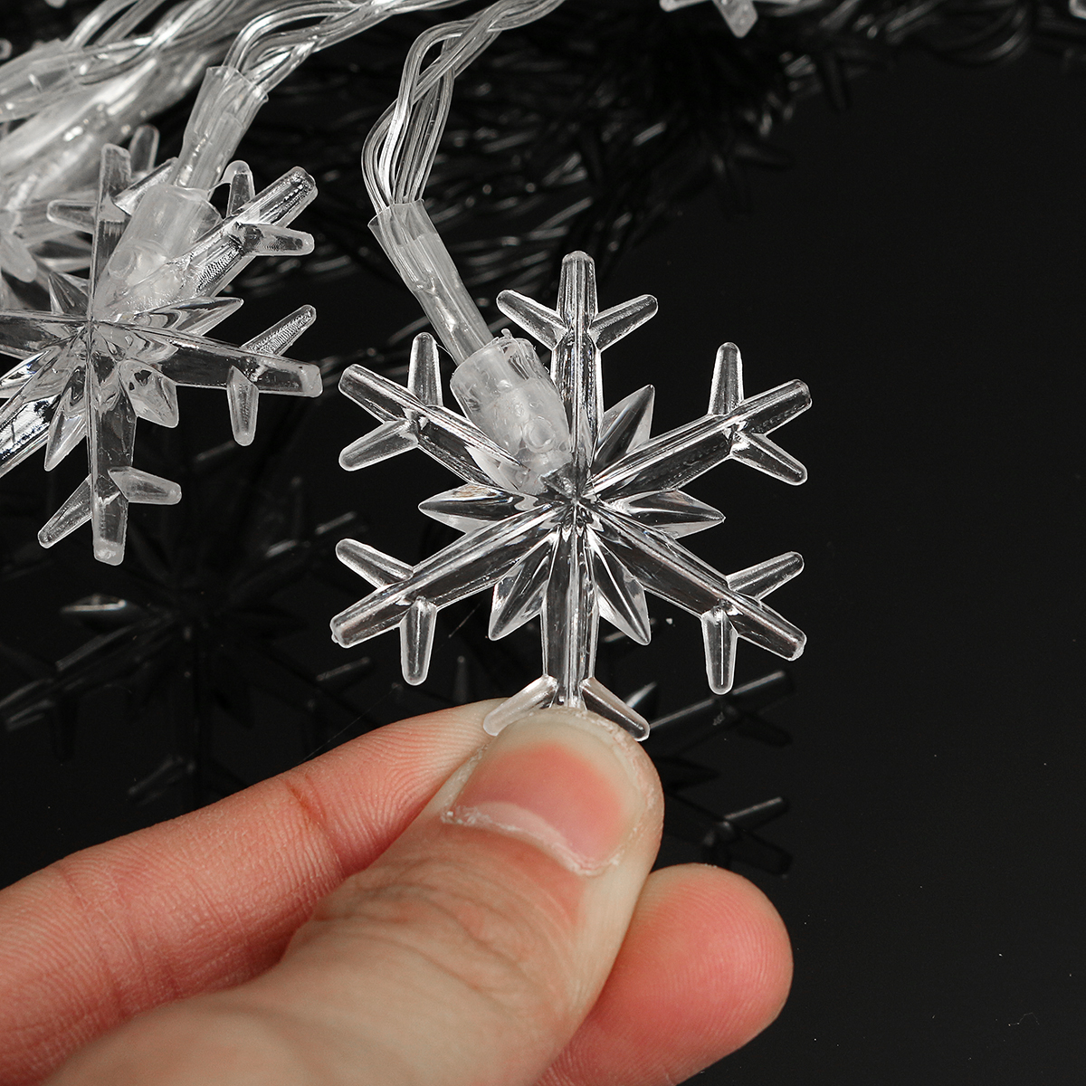 2.5M/5M LED Snowflakes String Christmas Light Christmas Tree Ornament Garland Hanging Decor