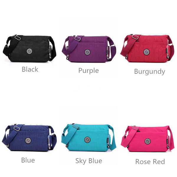 Women Nylon Shoulderbags Outdooors Waterproof Crossbody Bags Light Weight Messenger Bags