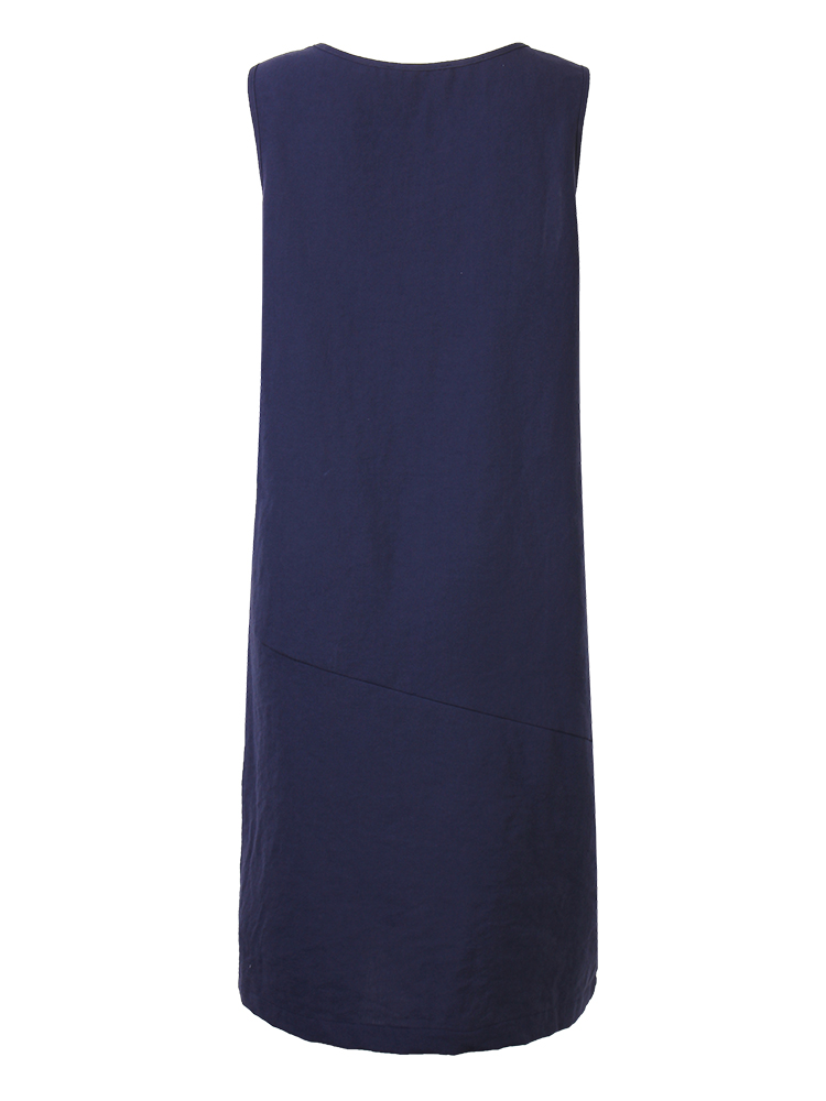 L-5XL Casual Women Solid Sleeveless Pocket Lantern Dress