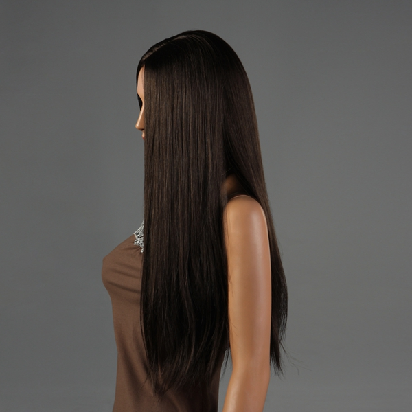 NAWOMI Long Straight 100% Kanekalon Synthetic Wig Capless Dark Brown Smooth Middle Bang