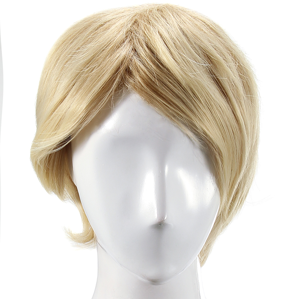 Synthetic Inclined Side Bang Hairstyle Short Blonde Wig