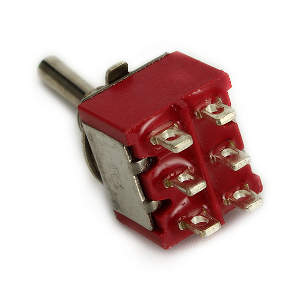 Wendao MTS-203 AC 120V 5A 6 Pins Toggle Rocker Switch Red ON/OFF/ON DPDT 5pcs
