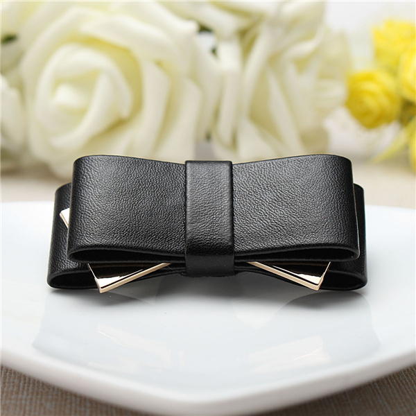 Women Ladies Bridal Wedding Bag Dress Shoe Clip Black Faux Leather Ribbon Bow