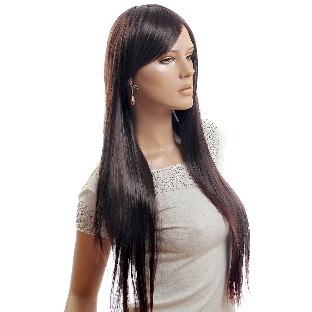 NAVIS Long Straight Matt High-Temperature Synthetic Fiber Hair Charming Dark Brown Wig