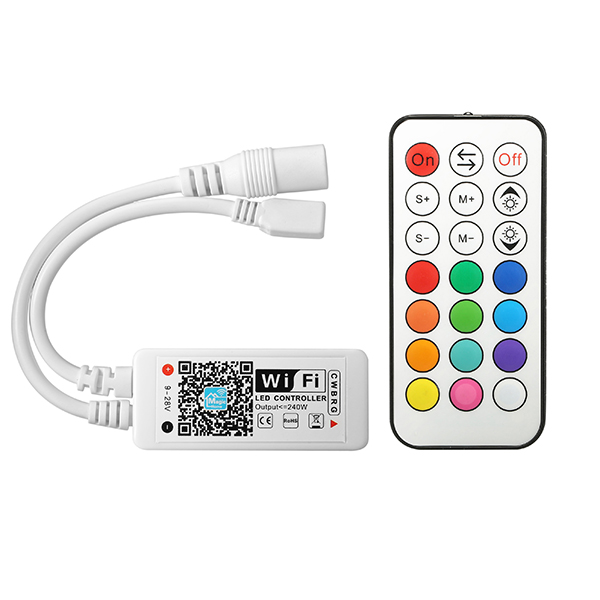 ARILUX® SL-LC 11 Mini LED WIFI APP Controller + RF Remote Control For RGB+Warm White+White LED Strip DC9-28V