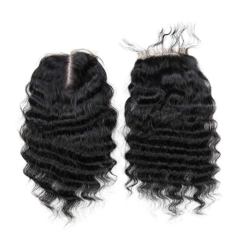 6A Deep Wave Virgin Hair Lace Closure Brazilian Human Hair Closures 4x4 Free Middle Part