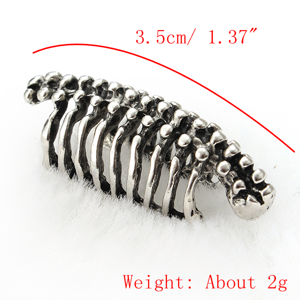 Unisex 1PC Punk Skull Spine Bone Non Pierced Ear Clips Earring