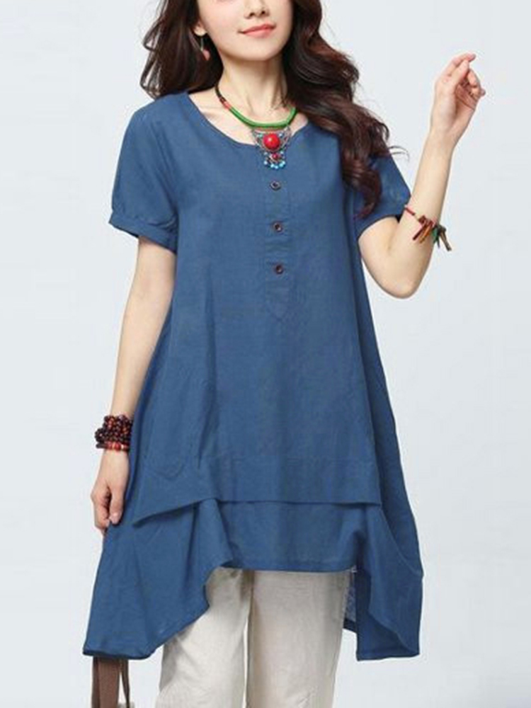 Women Button O-Neck Short Sleeve Irregular Hem A-Line Blouse