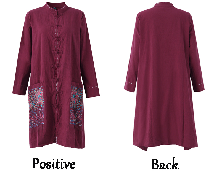 Vintage Women Ethnic style Chinese Frog Printed Patchwork Blouse Cardigan