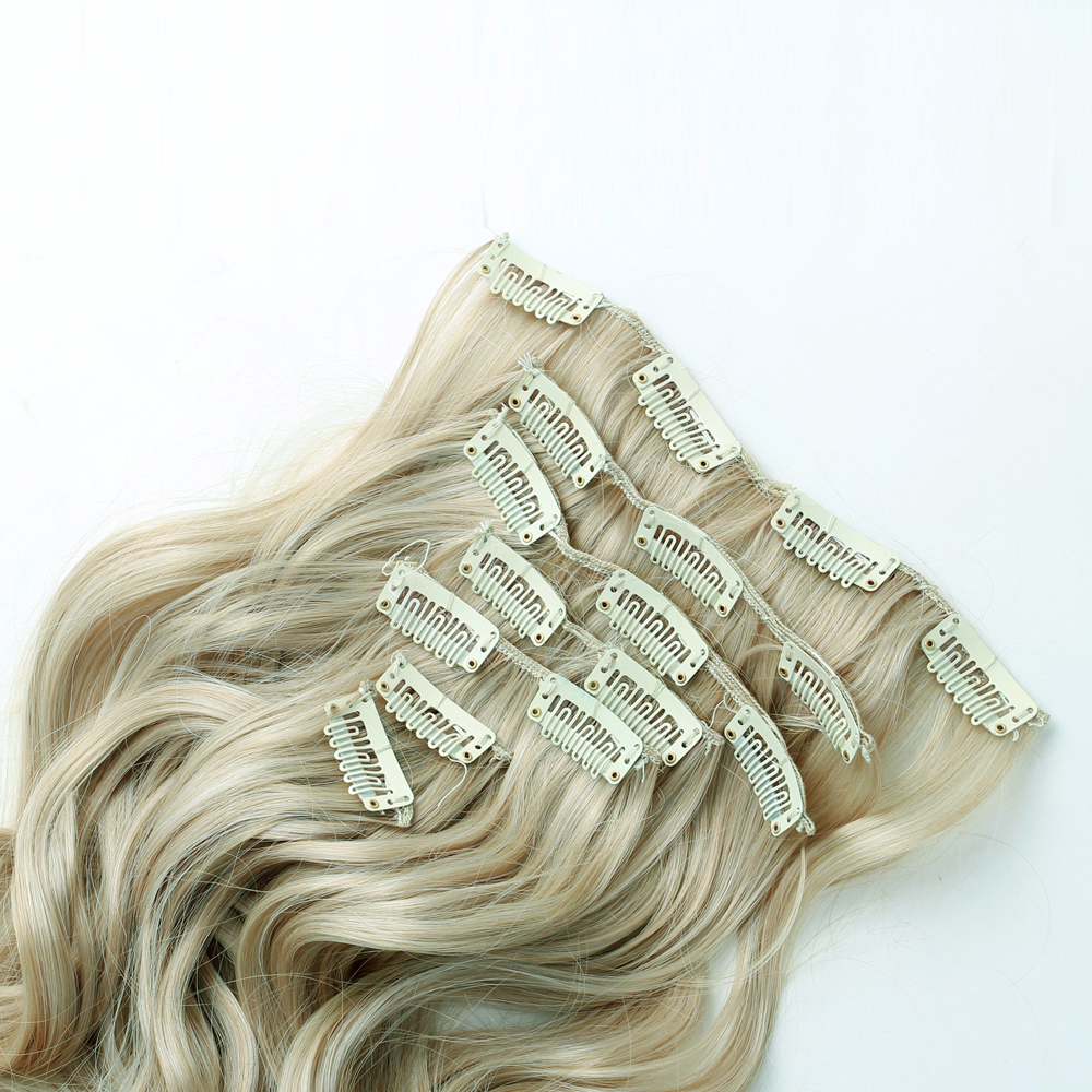 7Pcs NAWOMI Body Wave Heat Resistant Friendly Clip In Synthetic Hair Extension 17.7 Inch Blonde