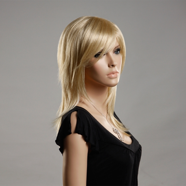 NAWOMI 100% Kanekalon Synthetic Hair Wig Elegant Lady Medium Length Capless Side Bang Golden