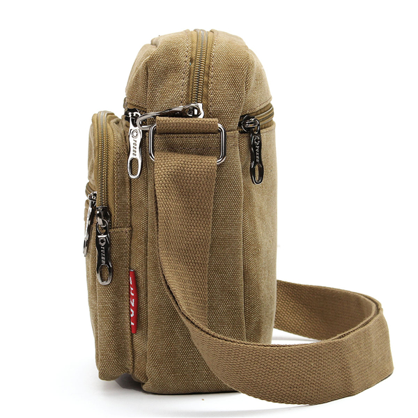 Men Casual Retro Canvas Shoulderbags Multi Pocket Crossbody Bags