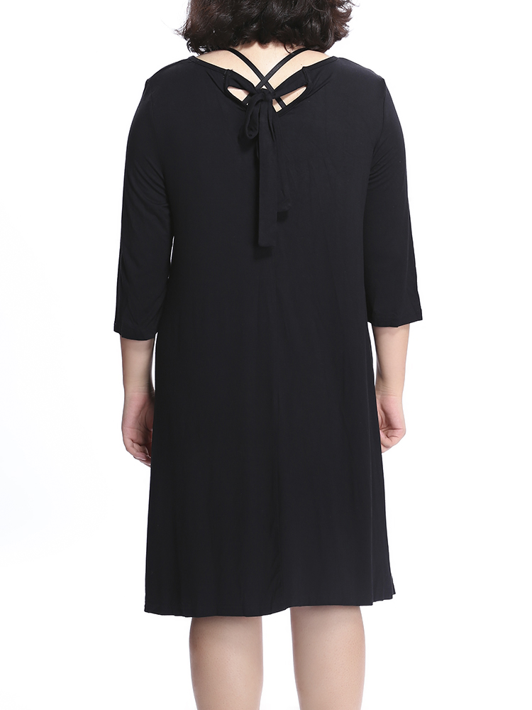 Ruffles Bow Casual Solid Half Sleeve Round Neck Loose Women Dress