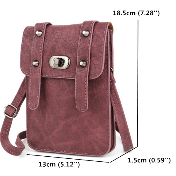 Two Interlayers Retro Lock Shoulder Bags Rivet Mini Crossbody Bags 6.0'' Phone Bags Case For Iphone