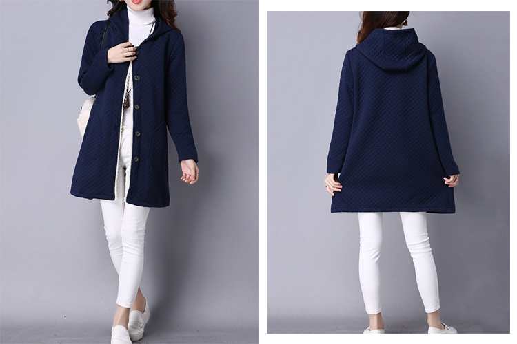 Casual Women Loose Hooded Plaid Single Breasted Pure Color Coat