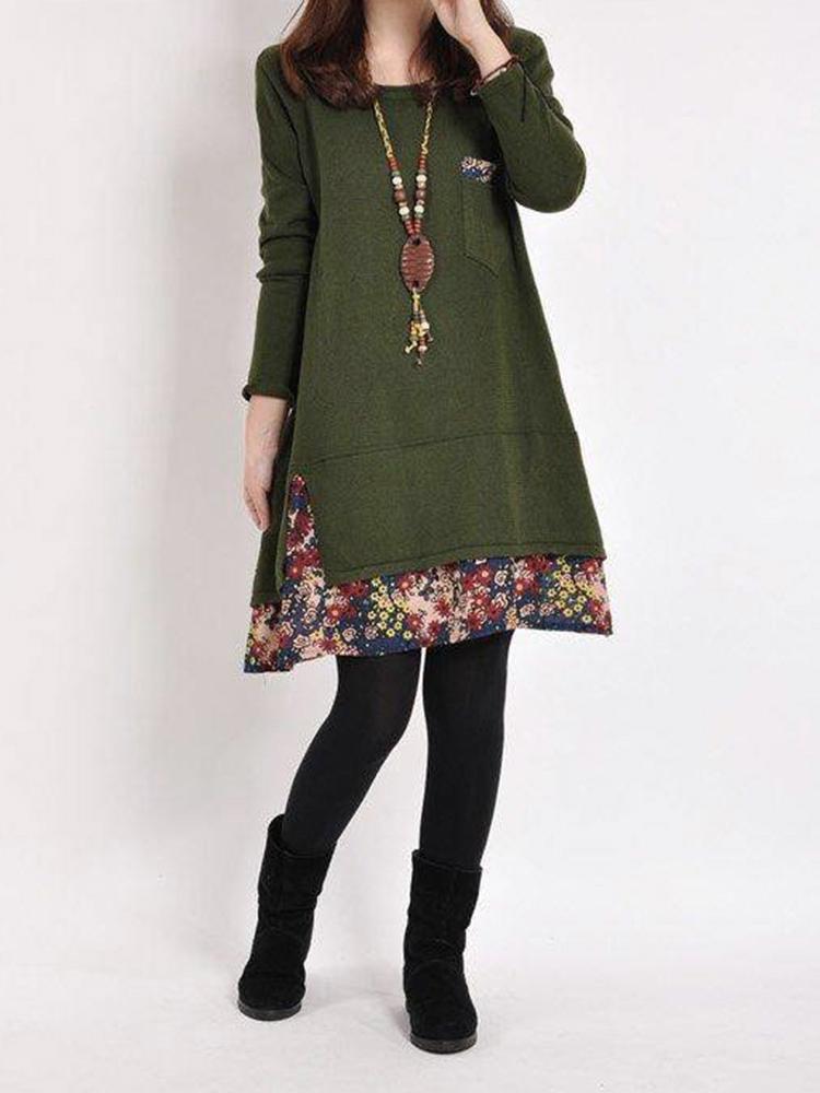 S-5XL Women Loose Floral Printed Stitching Causal Mini Dress