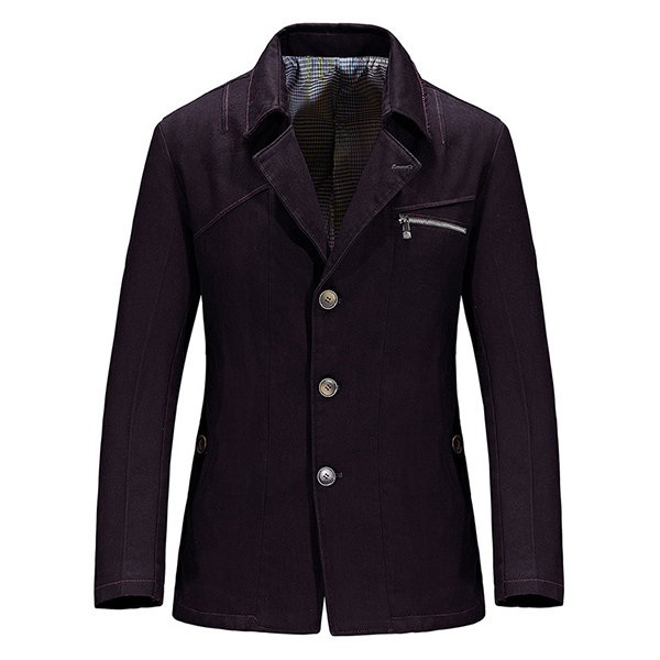 Mens Casual Single-breasted Pure Color Slim Fit Suit Jacket Blazers