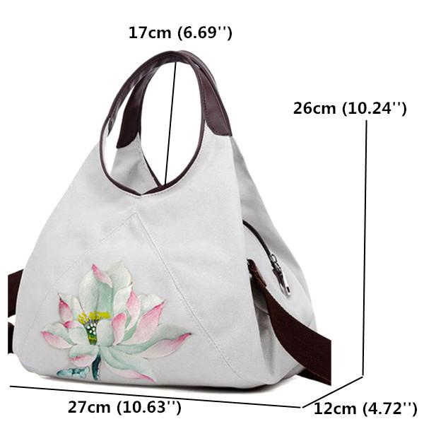 Women Canvas Lotus Tote Handbags Chinese Style Shoulder Bags Folk Custom Crossbody Bags