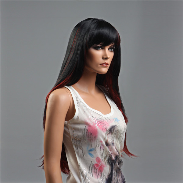 NAWOMI Black Red Highlights 100% Kanekalon Synthetic Hair Wig Long Soft Natural Straight Capless