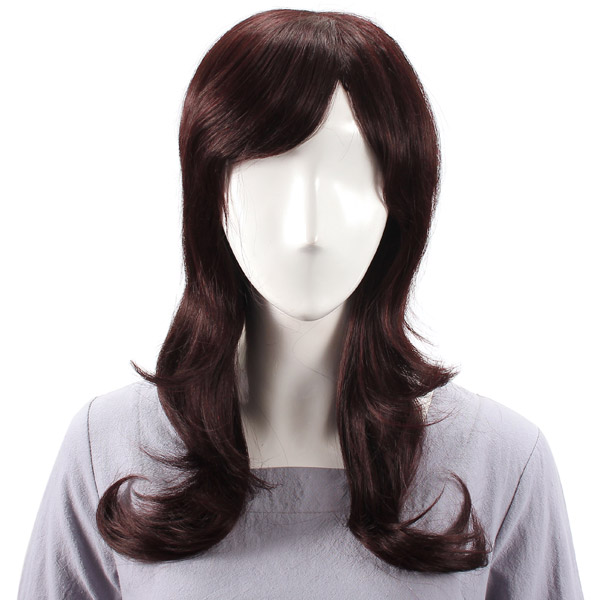 Long Charming Side Bang Human Hair Wig Virgin Remy Mono Top Capless