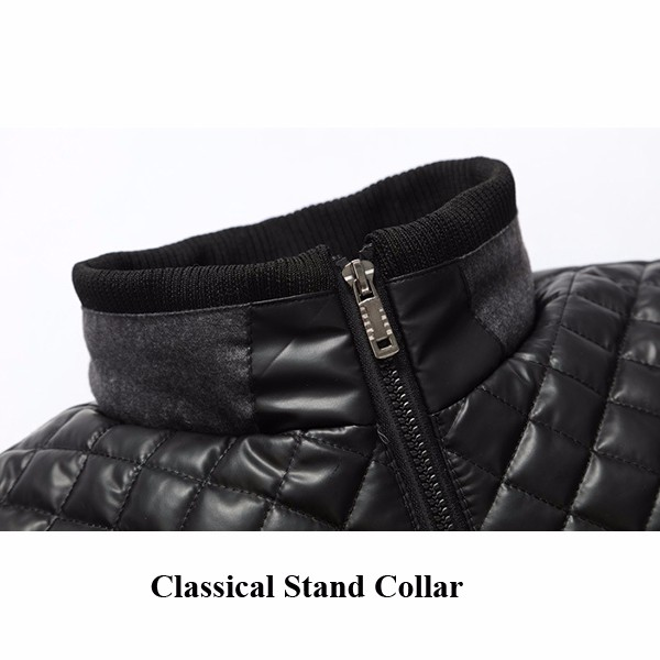 Mens Winter Velvet Plus Thickening Stand Collar Zipper Splicing Warm Cozy Padded Jacket