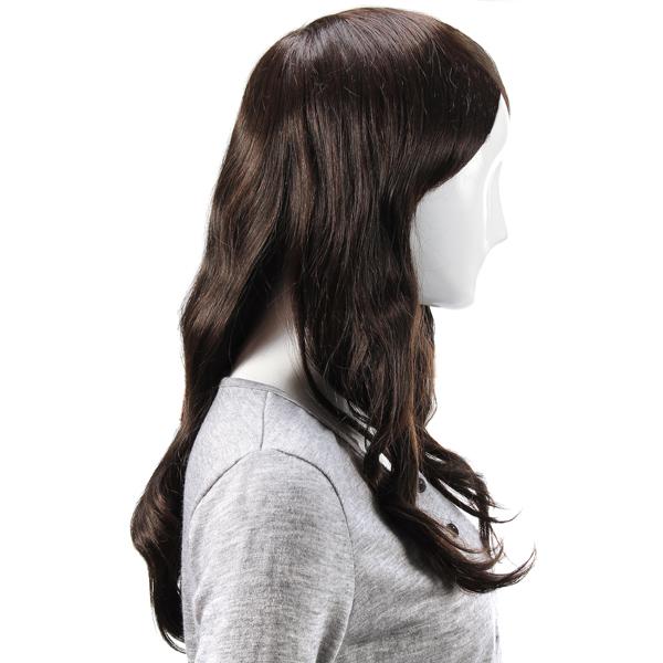 Virgin Remy Medium Brown Side Bang Long Capless Mono Top Human Hair Wig