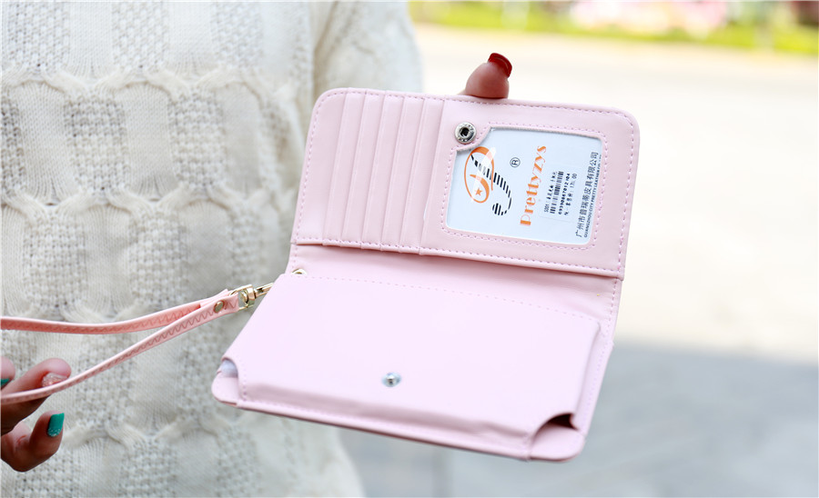 Universal Three Flowers Multifunctional PU Wallet Bag With Hand Strap For 5.5 Inch Smartphone