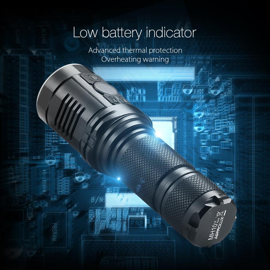 Astrolux MH10 XPL HI 1000LM USB LED Flashlight With 18350 Tube And Clip