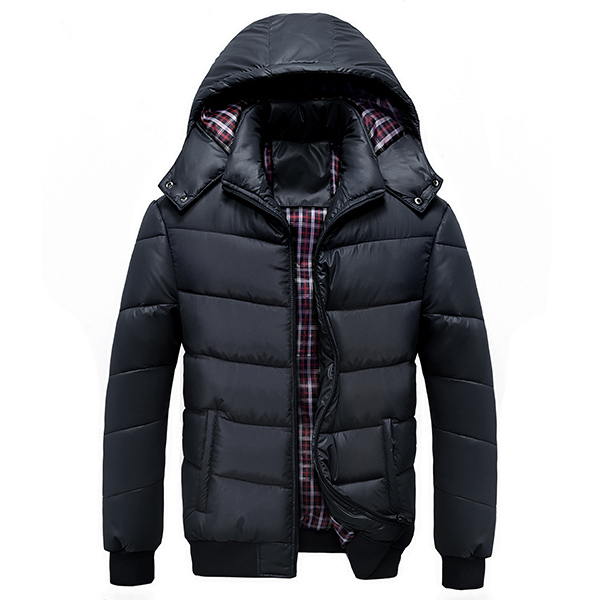 Mens Winter Plus Thick Warm Removable Hood Zipper Padded Jacket Parkas