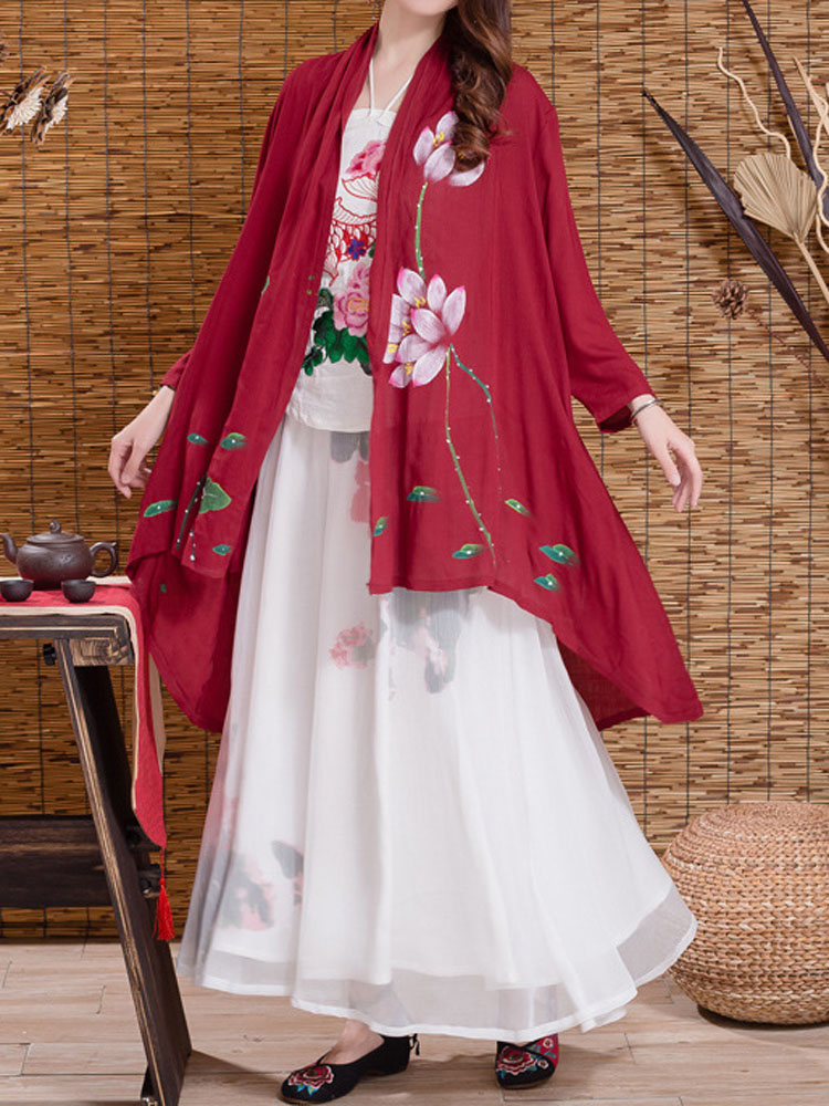 Chinese Style Women Lotus Printed High Low Thin Cardigan
