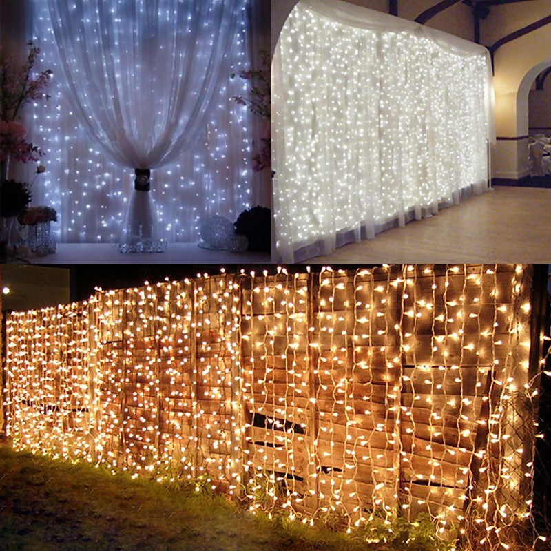 2M*3M 288LED Outdoor Christmas Xmas Wedding Party Fairy String Curtain Hanging Window Light EU Plug