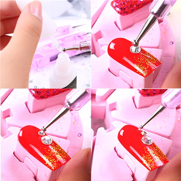 5Pcs 2 Way Design Metal Crystal Nail Art DIY Painting Dotting Pen Set Kit Manicure Tools