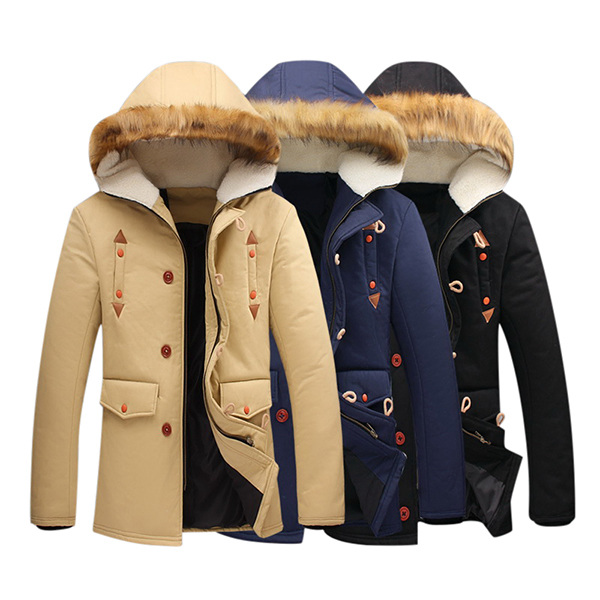 Winter Stylish Thick Warm Fur Hooded Zipper Buckle Jacket Parkas