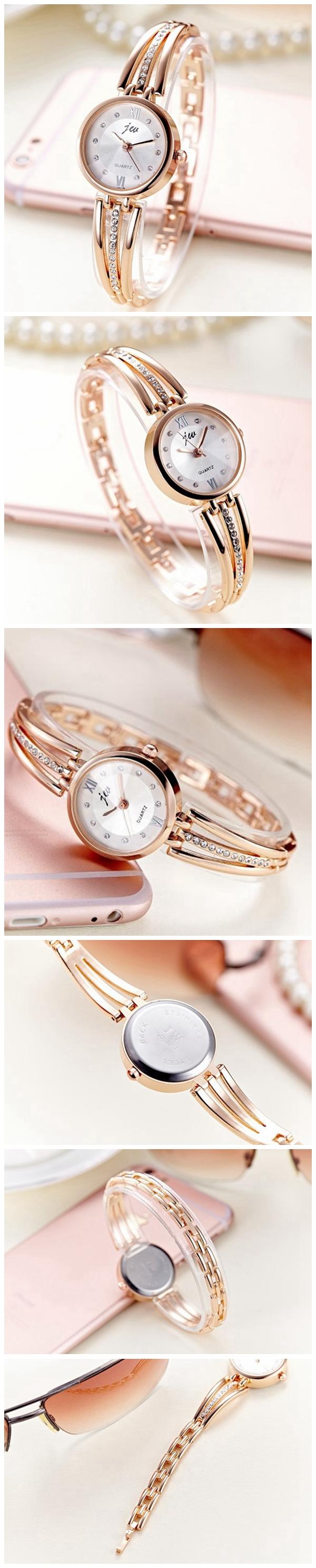 JW 3512 Fashion Round Dial Rhinestones Alloy Lady Bracelet Bangle Women Dress Quartz Watch