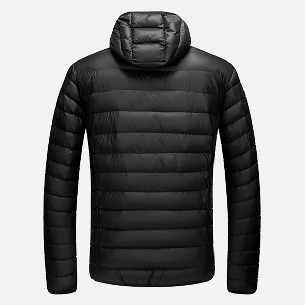 Mens Light Weight Removable Hood Winter Warm Pure Color Zipper Padded Jacket