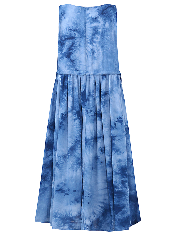 Sleeveless Printed Gradient Color O-Neck Dress