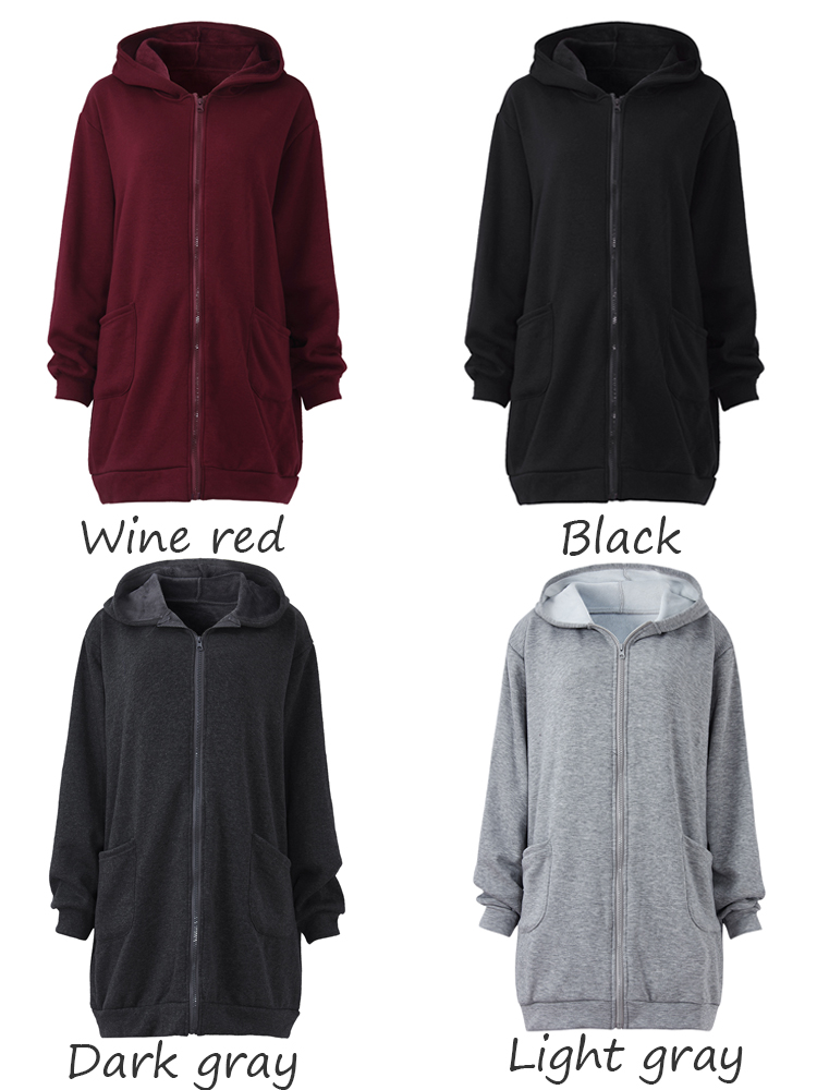 Casual Women Long Sleeve Hooded Pure Color Zipper Thick Pocket Coat
