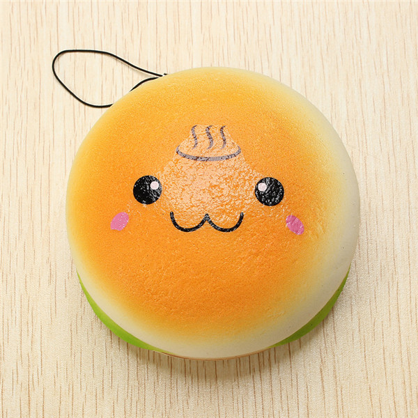 10cm Squishy Hamburger Toy Random Cute Emoji Bread Phone Bag Strap Pendant