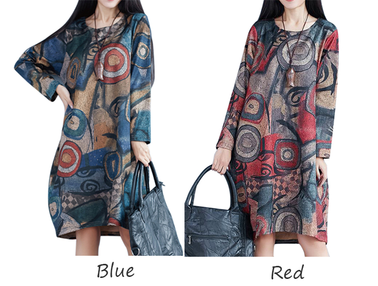 Casual Women Loose O-Neck Long Sleeve Printed Knee-Length Dress