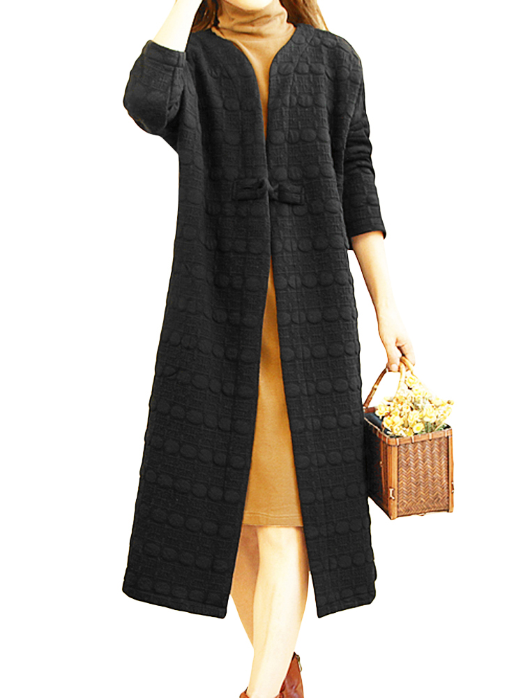Casual Women Chinese Frog Long Coats