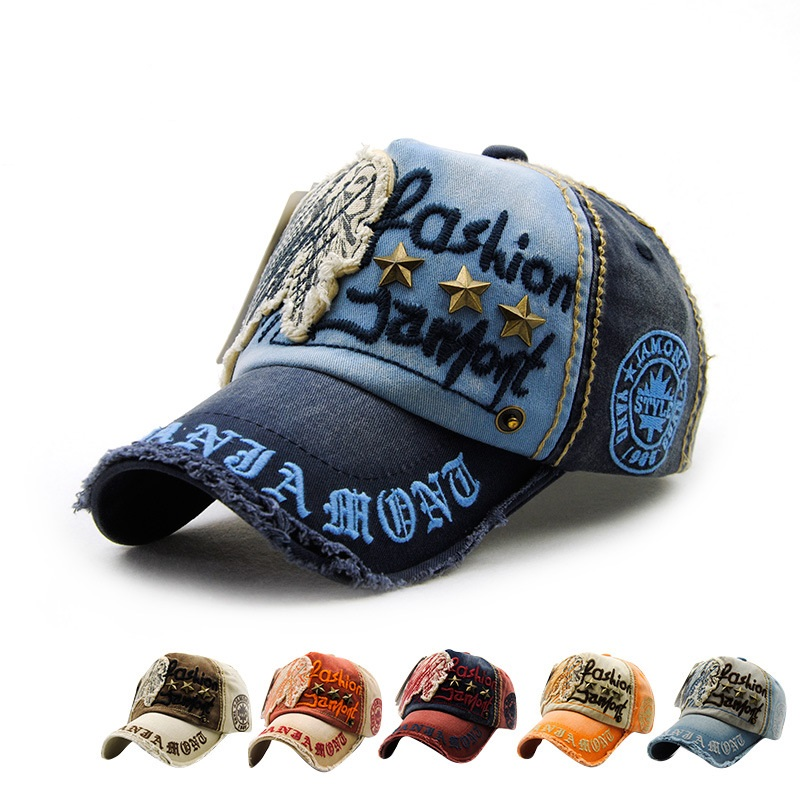 Unisex Cotton Washed Vintage Embroidery Baseball Cap Adjustable Golf Snapback Hat For Men Women