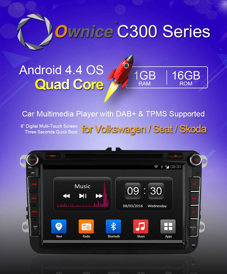 Ownice C300 OL-8992T Car GPS Navigation DVD Video Radio Player Quad Core AUX In for Volkswagen Skoda Seat