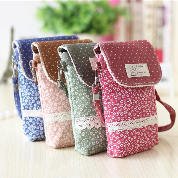 3 Interlayers Hasp Floral Canvas Shoulder Bags Girls Mini Cute Lace Shoulder Bags 5.5'' Phone Bags