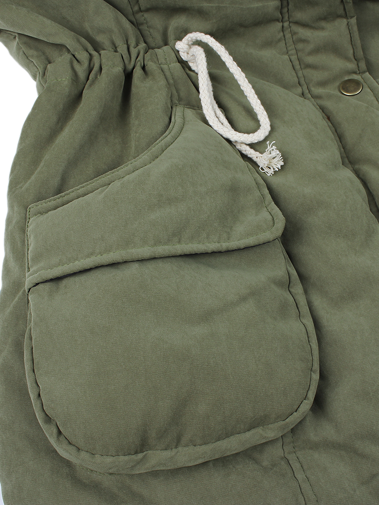 M-5XL Waist Drawstring Hooded Thick Coats