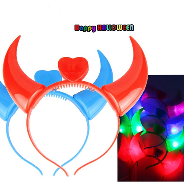 Halloween Costumes Devil Horns LED Flashlight Colorful Wedding Party Decor Supplies