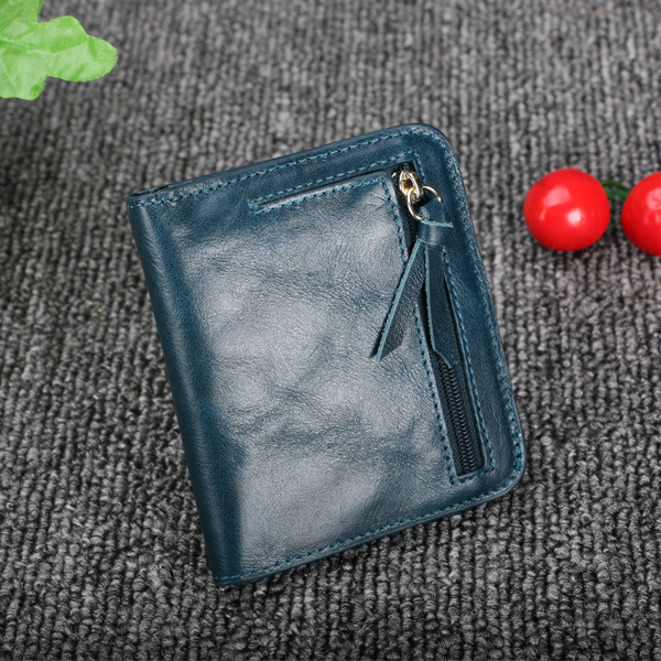 Women Genuine Oil Leather Zipper Short Wallets Girls Retro Purse Card Holder Coin Bags